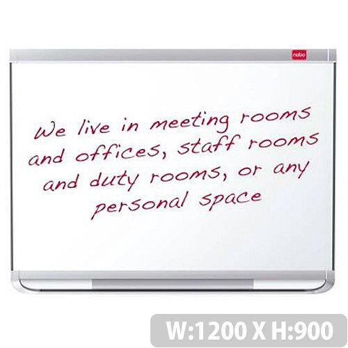 Nobo Prestige 1200x900mm Drywipe Board Enamel Magnetic with Aluminium Trim and Fixings Markers Magnets Ref 1902675