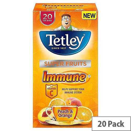 Tetley Super Fruits Tea Immune Peach and Orange with Vitamin C Pack of 20 Tea Bags]