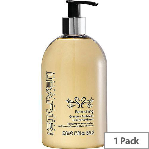 Enliven Luxury Handwash Liquid Soap Refreshing Orange &Fresh Mint 500ml (Pack 1) Ref 502329