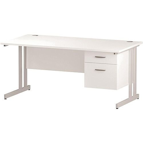 Rectangular Double Cantilever White Leg Office Desk With Fixed 2 Drawer Pedestal White W1600xD800mm