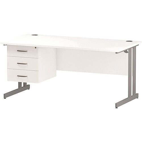 Rectangular Double Cantilever Silver Leg Office Desk With Fixed 3 Drawer Pedestal White W1600xD800mm
