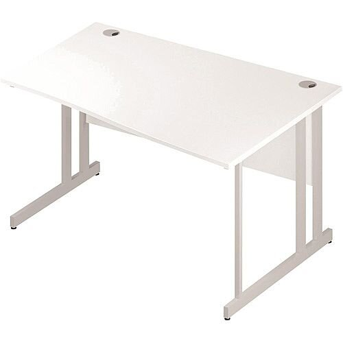 Wave Double Cantilever White Leg Right Hand Office Desk White W1400mm