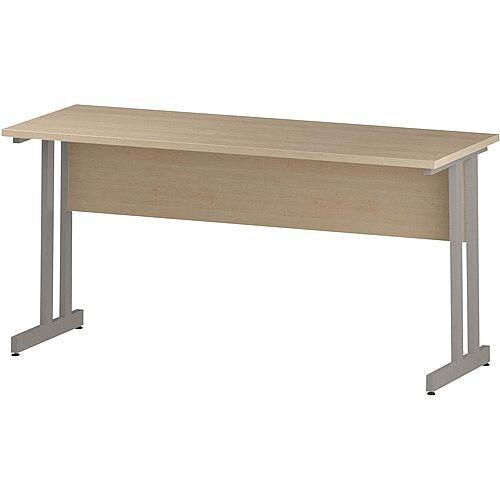 Rectangular Double Cantilever Silver Leg Slimline Office Desk Maple W1600xD600mm