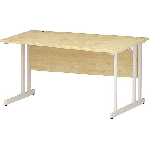Wave Double Cantilever White Leg Right Hand Office Desk Maple W1400mm