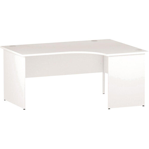L-Shaped Corner Right Hand Panel End Office Desk White W1600mm