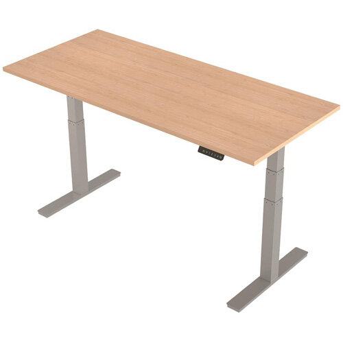 1800x800mm Height Adjustable Rectangular Sit-Stand Desk Maple with Silver Frame