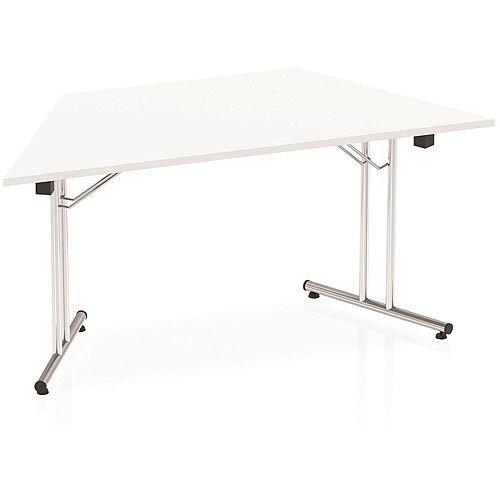 Trapezoidal Folding Table White W1600xD800mm