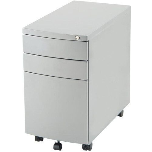 Steel Storage Slim Mobile Desk Pedestal with 3 Drawers Silver