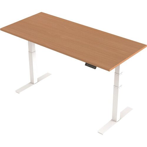 1800x800mm Height Adjustable Rectangular Sit-Stand Desk Beech with White Frame