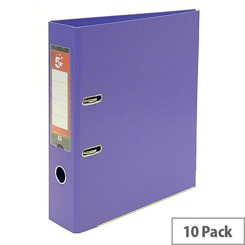 5 Star Office A4 Lever Arch File Plastic Purple Pack of 10