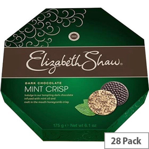 Elizabeth Shaw Mint Crisps Dark Chocolates Dark Individually Wrapped Pack of 28