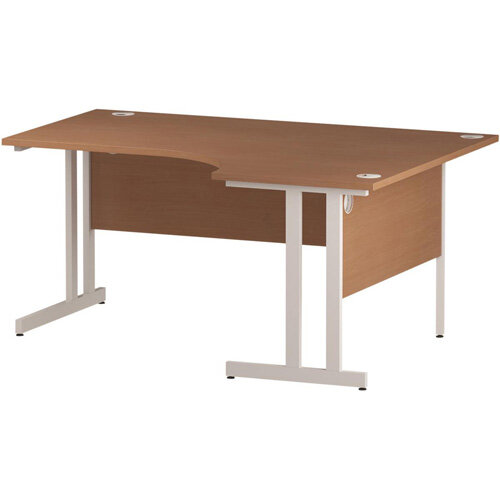 L-Shaped Corner Right Hand Double Cantilever White Leg Office Desk Beech W1600mm