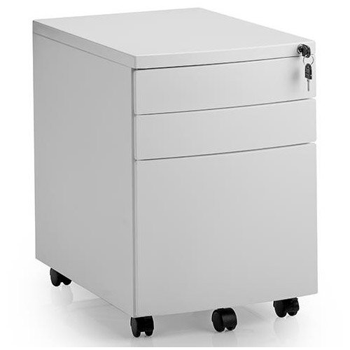 Steel Mobile Desk Pedestal White with 3 Drawers