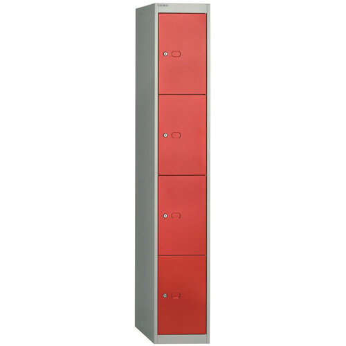 Bisley Steel Locker 457 Four Door Grey/Red