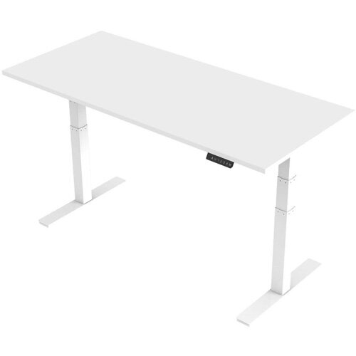 1800x800mm Height Adjustable Rectangular Sit-Stand Desk White with White Frame
