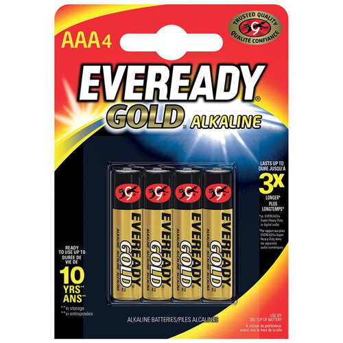 Eveready Gold AAA Alkaline Batteries Pack of 4
