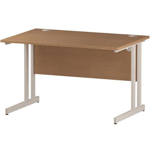 Rectangular Double Cantilever White Leg Office Desk Oak W1200xD800mm