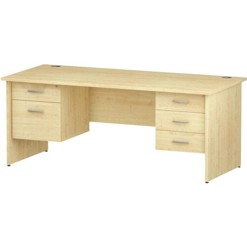 Rectangular Panel End Office Desk With 2 Fixed Pedestals 3/2 Drawer Maple W1800xD800mm