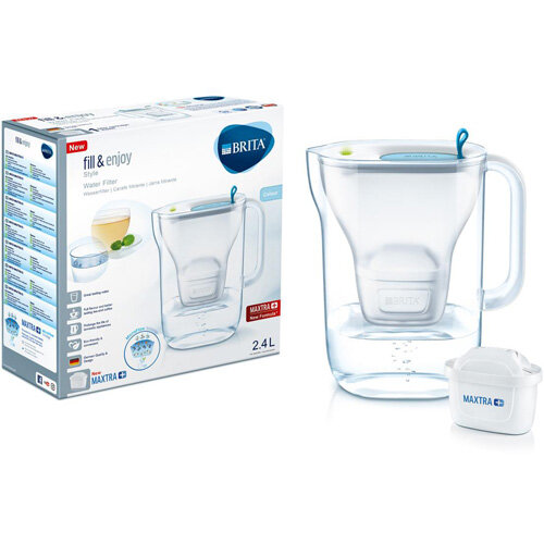 Brita Fill&njoy Style 2.4 Litre Water Filter Jug MAXTRA+ Filter Blue