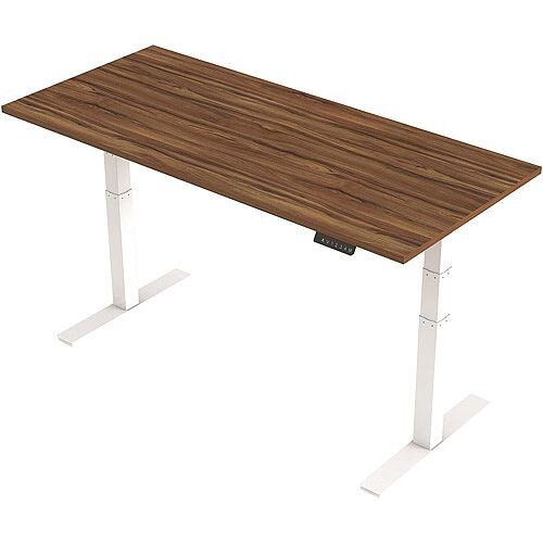1800x800mm Height Adjustable Rectangular Sit-Stand Desk Walnut with White Frame