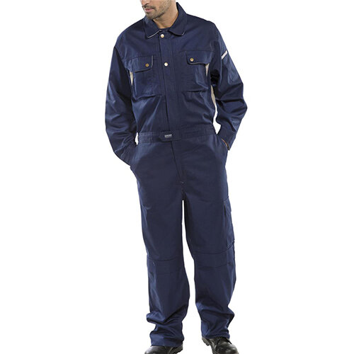 Click Premium 250gsm Polycotton Boilersuit Work Overall Size 54 Navy Blue Ref CPCN54