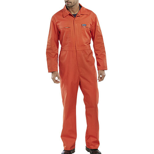 Super Click Workwear Heavy Weight Boiler Suit Work Overall Size 42 Orange Ref PCBSHWOR42