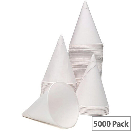 4oz/125ml Water &Cold Drinks Disposable Paper Cone Cups White (Pack of 5000) GEPACOW5000