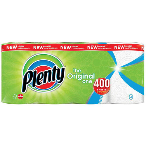 Plenty The Original One Double Kitchen Paper Towel Rolls 400 Sheets per Roll Pack of 4