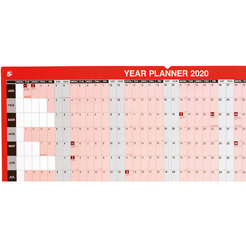 5 Star Office 2020 Year Planner Mounted Landscape with Planner Kit 915x610mm Red