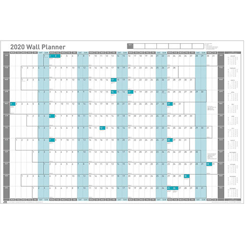 Sasco 2020 Wall Planner Unmounted with Pen Kit Landscape 915x610mm White Ref 2410125