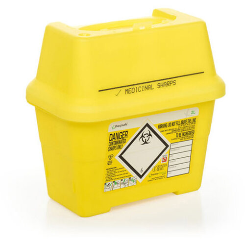 Click Medical Sharpsafe 2 Litre Sharps Bin Yellow Ref CM0643