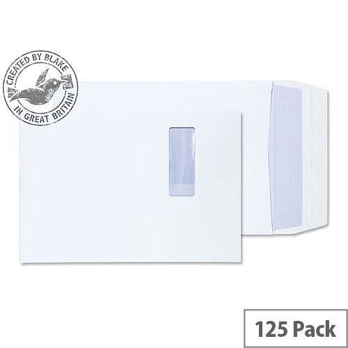 Purely Packaging Envelope P& B4 140gsm 350x250x25mm Window White Ref 41062W [Pack 125]
