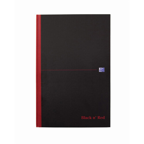 Black n Red B5 90g/m2 144 Pages Ruled Casebound Notebook Black Pack of 5