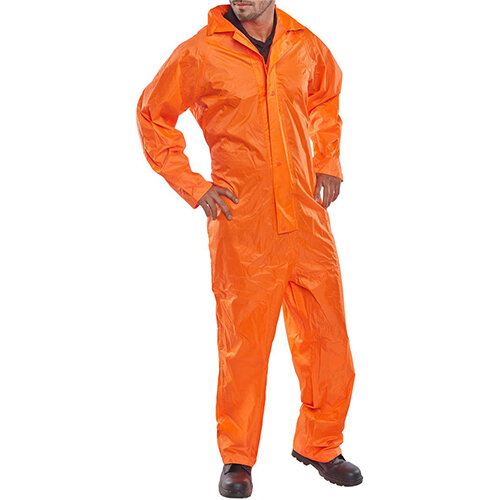 B-Dri Weatherproof Nylon Hi-Vis Protective Work Coverall Size L Orange Ref NBDCORL
