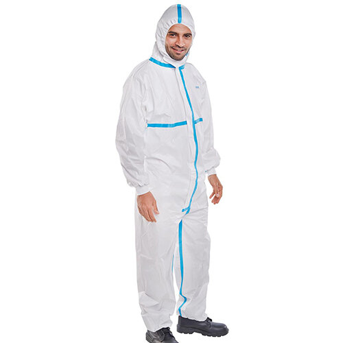 Click Once Microporous Disposable Protective Work Coverall Type 4/5/6 Size XL White Pack of 20 Ref COC30WXL