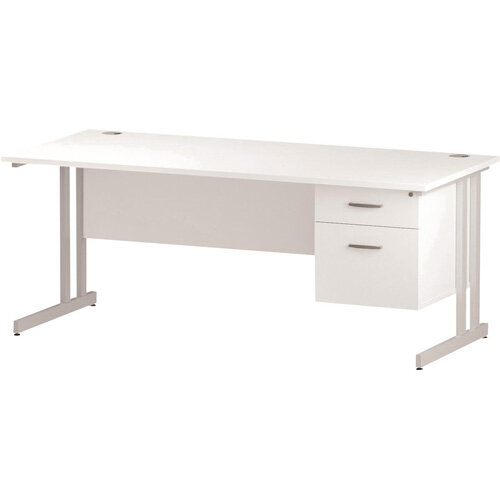 Rectangular Double Cantilever White Leg Office Desk With Fixed 2 Drawer Pedestal White W1800xD800mm