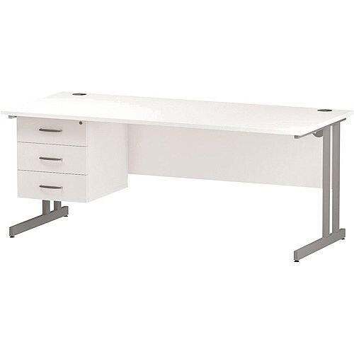 Rectangular Double Cantilever Silver Leg Office Desk With Fixed 3 Drawer Pedestal White W1800xD800mm