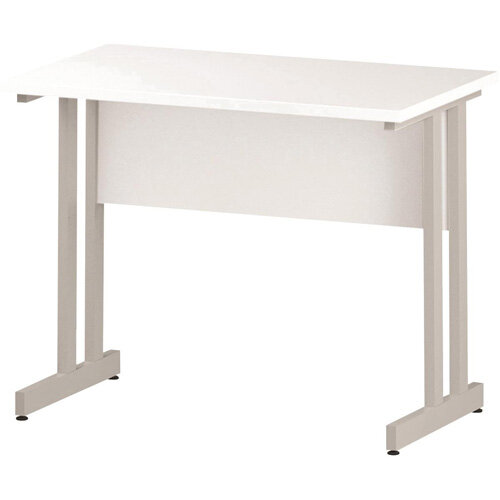Rectangular Double Cantilever White Leg Slimline Office Desk White W1000xD600mm