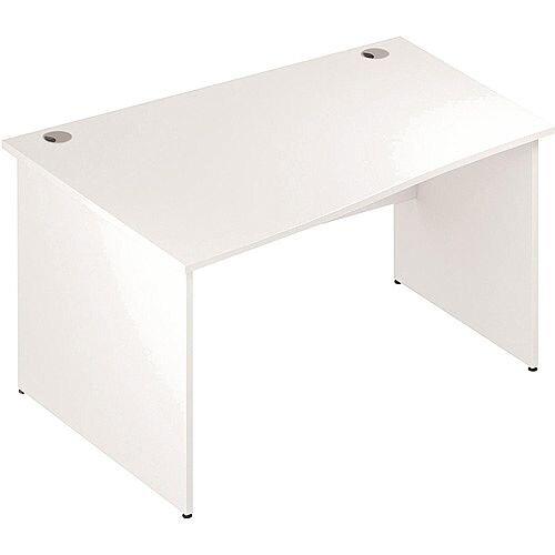Wave Panel End Left Hand Office Desk White W1400mm
