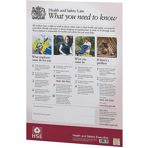 Stewart Superior A3 Health and Safety Law Poster for UK