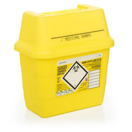 Click Medical Sharpsafe 3 Litre Sharps Bin Yellow Ref CM0644