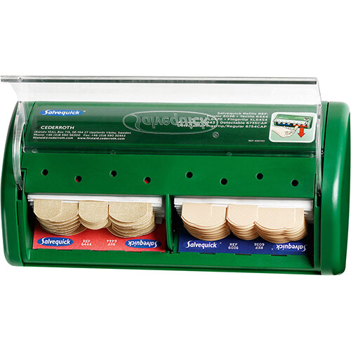 Click Medical Salvequick Plaster Dispenser Green with Waterproof and Fabric Plasters Ref CM0540