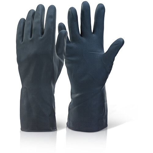 Click2000 Household Heavy Weight Rubber Gloves Black Size L (9/9.5) Pack of 10 Pairs Ref HHBHWL