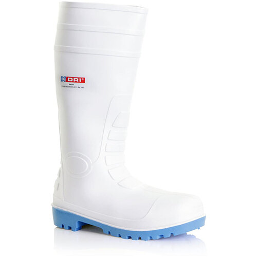 B-Dri Footwear Safety Wellington PVC Boots Size 6.5 (40) White - Steel Toe Cap, Various Chemical Resistant, Oil Resistant Outsole, 100% Waterproof Ref BBSW06.5