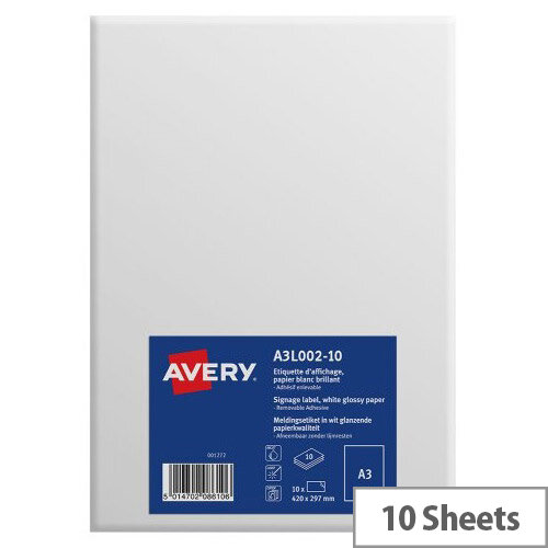 Avery A3 Display Labels Premium Paper Quality Pack of 10
