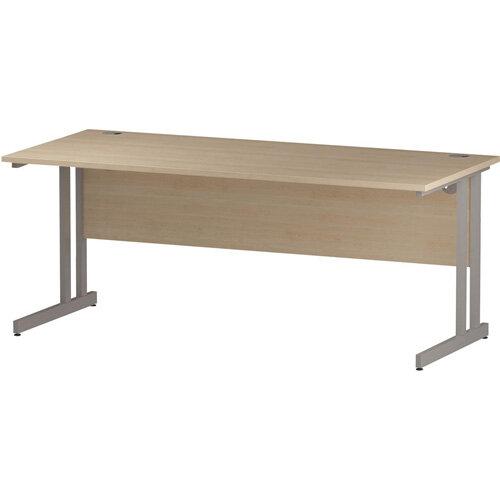 Rectangular Double Cantilever Silver Leg Slimline Office Desk Maple W1800xD600mm