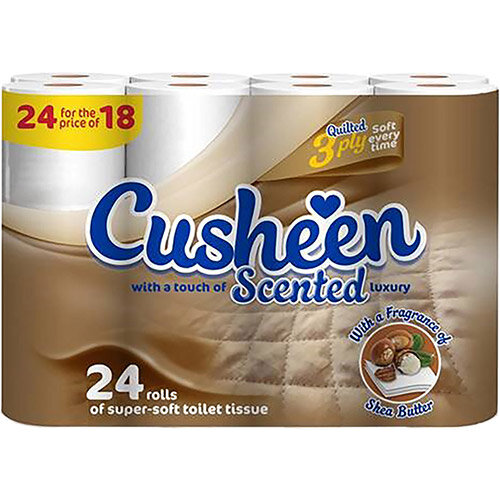 Cusheen Scented Luxury Super Soft Toilet Rolls 3-Ply White Ref 1102030 Pack of 24