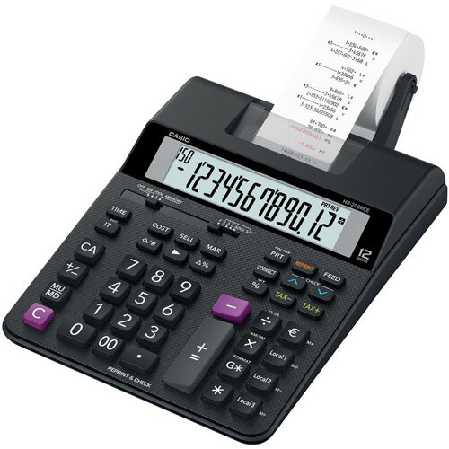 Casio HR-200RCE Printing Desktop Calculator Euro Conversion Tax Calculation Battery Power 12 Digit LC Display 2.0 Lines/sec Black