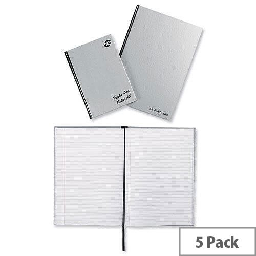 Pukka Pad A4 Notebook Ribbon Casebound Hard Cover Silver Pack 5