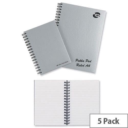 Pukka Pad A5 Wirebound Notebook Hardback Silver Pack 5